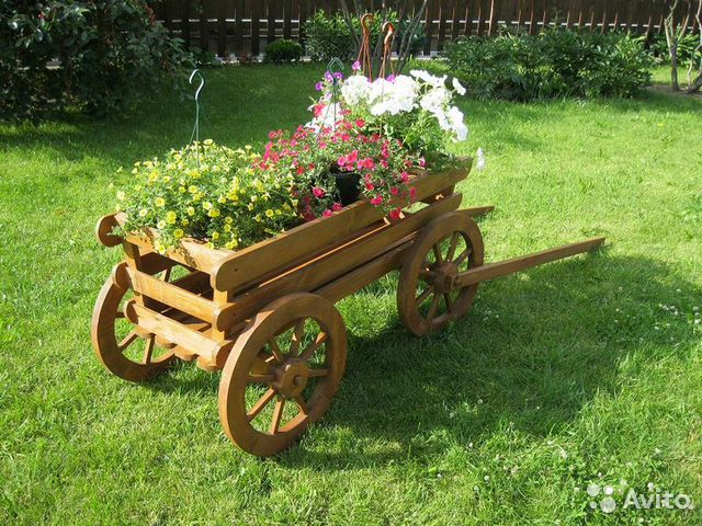 Телега декоративная для сада своими руками