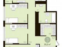 3-к квартира, 95.9 м², 14/16 эт. — Квартиры в Тюмени