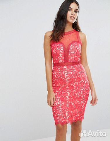 Кружевное красное платье футляр (новое)  6adaed17a6b71