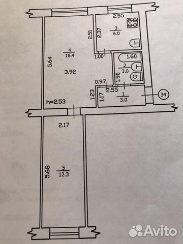 2-room apartment, 43 m2, 4/5 floor.