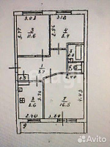 3-к квартира, 63 м², 4/5 эт.  89190506256 купить 7