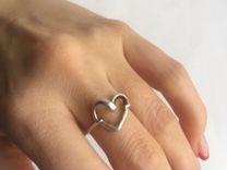 Серебряное кольцо сердце