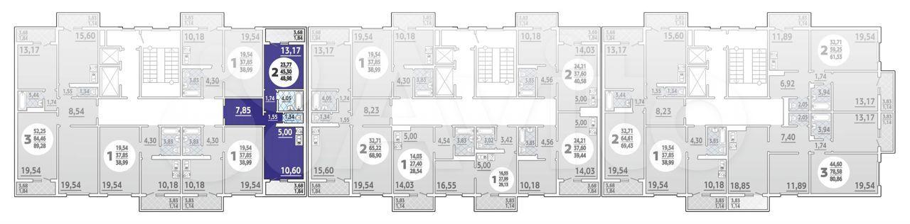 2-к квартира, 49 м², 14/16 эт.  88613255629 купить 1